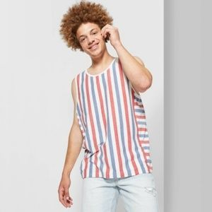 Men's Striped Regular Fit U-Neck Tank Top - Origin